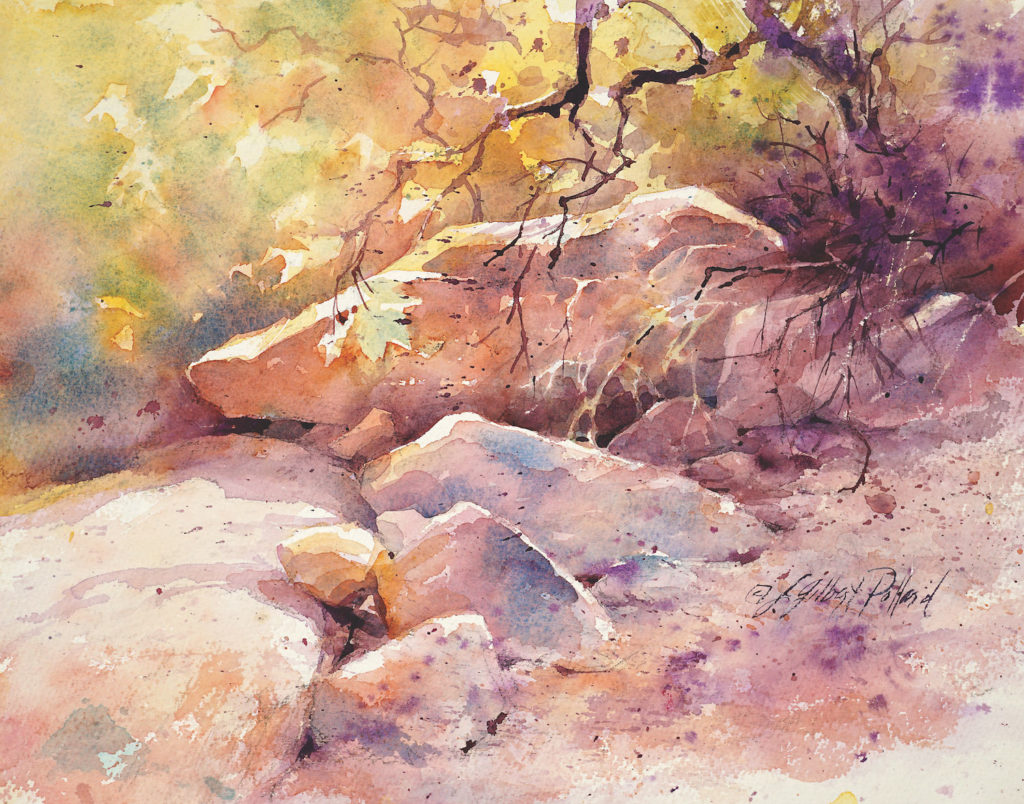 Sedona Reds by Julie Gilbert Pollard | How to Paint Rocks in Watercolor