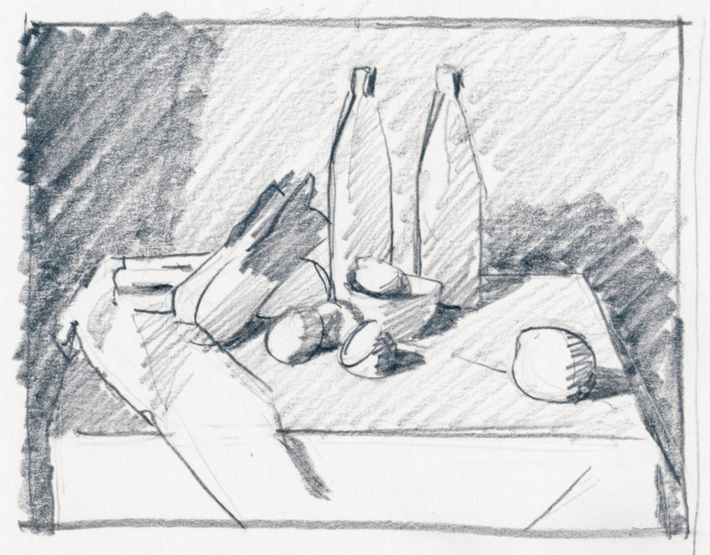 Thumbnail sketch of still life composition on white paper | Artists Magazine