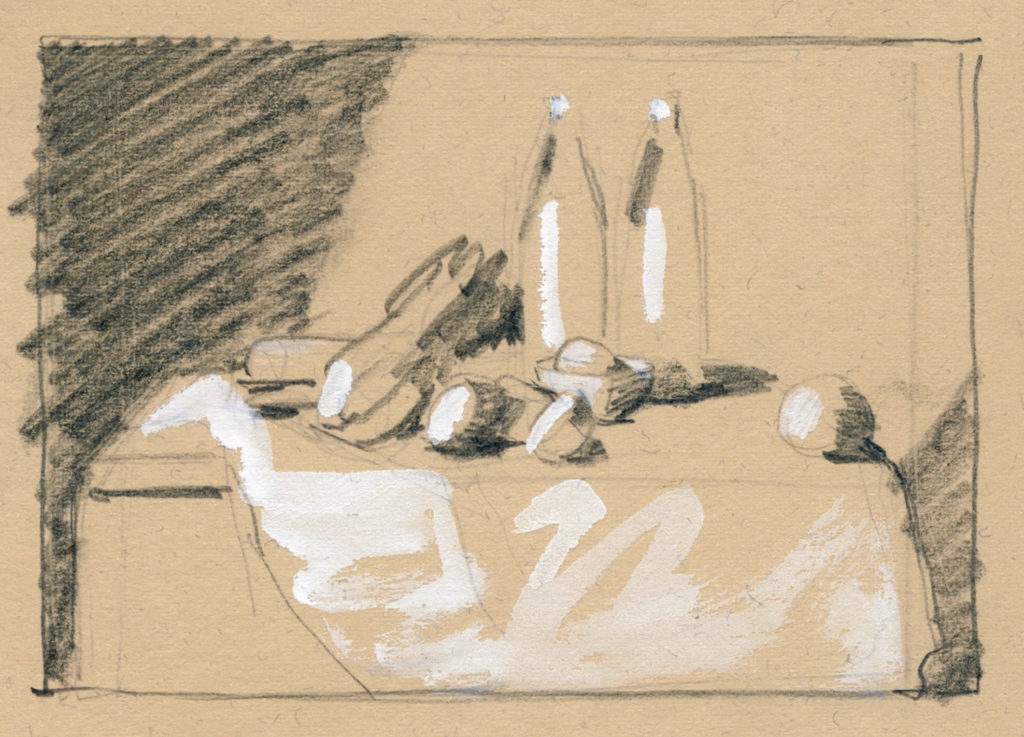 Thumbnail sketch of still life composition on buff paper | Artists Magazine