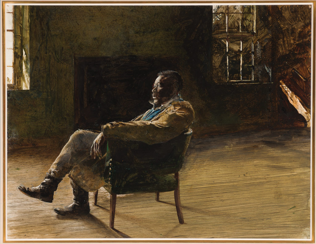 Monologue by Andrew Wyeth (1965; drybrush and watercolor on paper, 22¼ x 28½). Selected by Audrey Lewis, Curator, Brandywine River Museum of Art, Chadds Ford, Penn.
