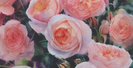 Final Blooming English Roses by Adisorn Pornsirikarn (watercolor on paper, 29½x21½)
