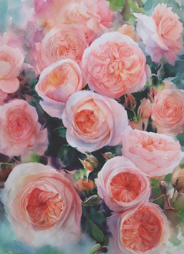 Watercolor rose demo by Adisorn Pornsirikarn
