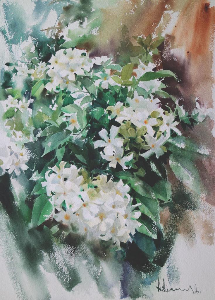 Watercolor flowers: Blooming by Adisorn Pornsirikarn (watercolor on paper, 20x14¼)