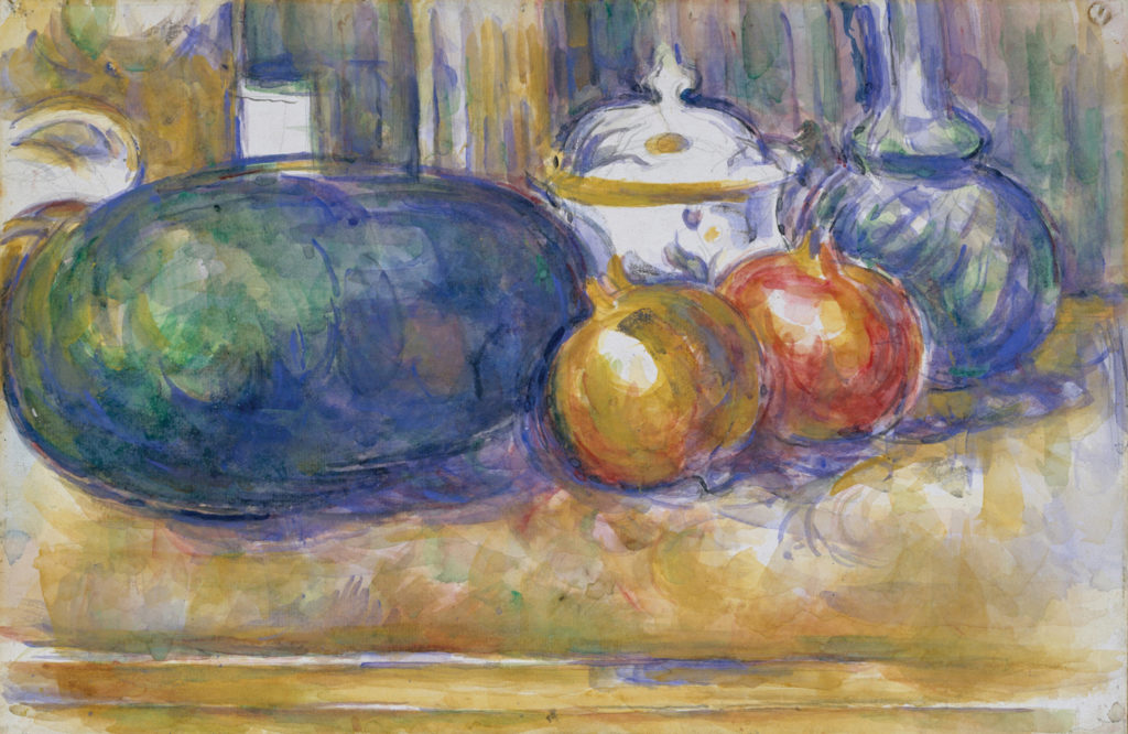 Still-Life With a Watermelon and Pomegranates by Paul Cézanne | Exploring Perspective in Still Lifes, article by Kenneth J. Procter, Artists Network