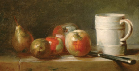 Still Life With a White Mug by Jean Siméon Chardin (cropped) | Exploring Perspective in Still Lifes, article by Kenneth J. Procter, Artists Network