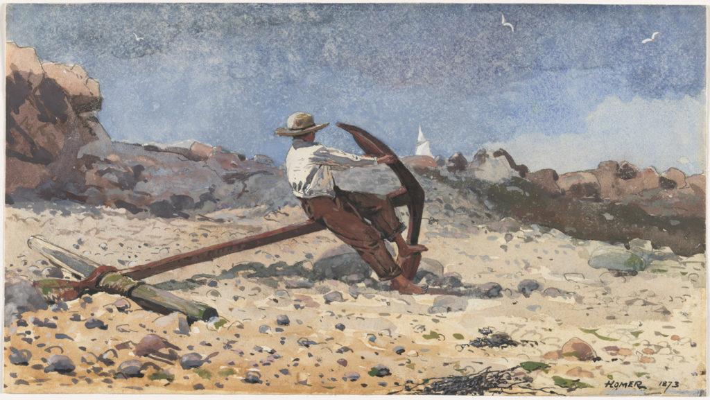 Boy With Anchor by Winslow Homer (1873; watercolor and gouache with graphite, 7⅝ x 1311⁄16) Selected by Emily J. Peters, Ph.D., Curator of Prints and Drawings, The Cleveland Museum of Art.