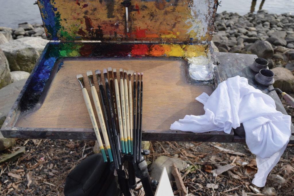 Plein air supplies: paints, surface, easel