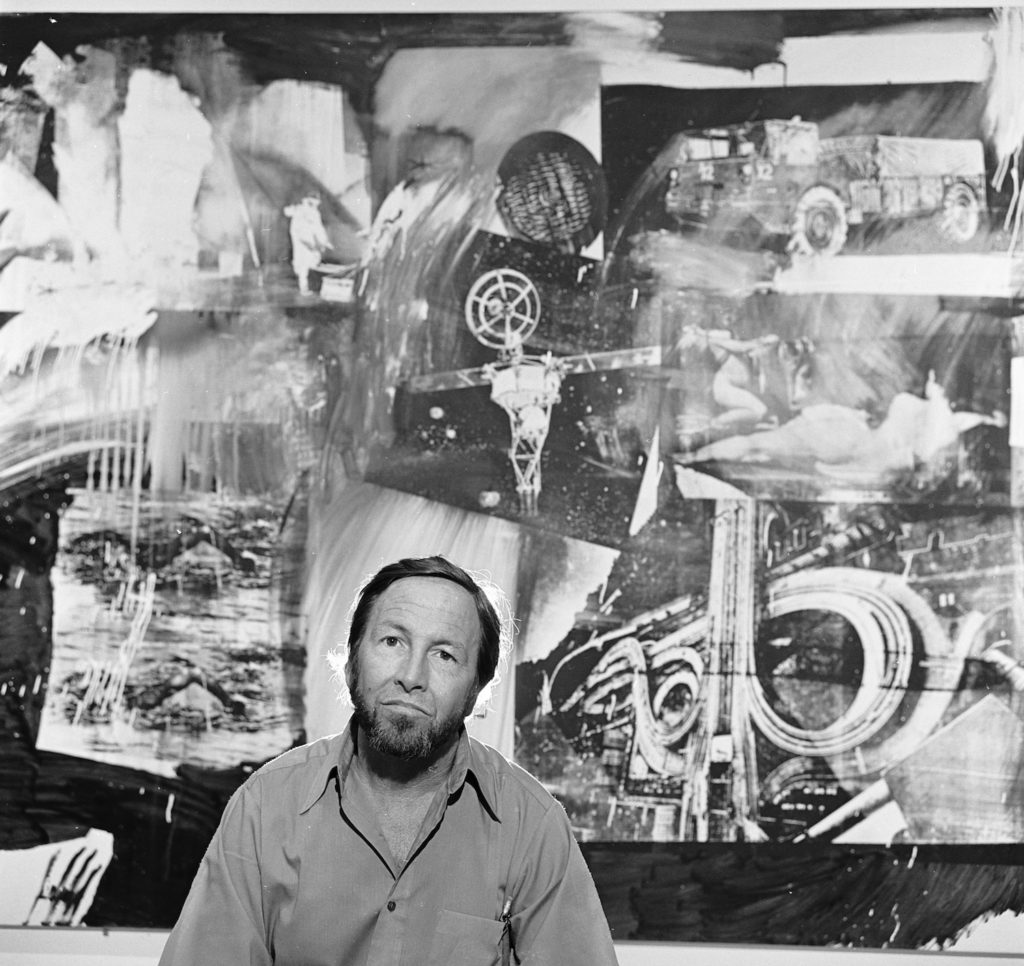 Artist Robert Rauschenberg with his art at the Museum of Modern Art in New York, March 19, 1977 | Getty Images