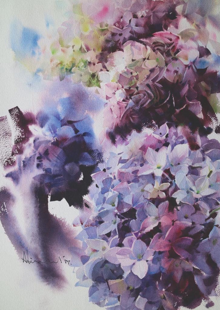 Watercolor flower: Hydrangea by Adisorn Pornsirikarn (watercolor on paper, 20x14¼)