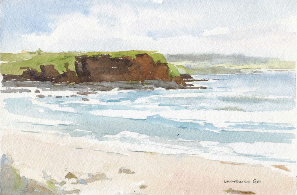 Ireland Shore by Catherine Gill | Techniques for Painting Outdoors, How to Paint the Earth, Sky and Sea in Landscapes | Watercolor Artist, Artists Network