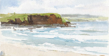Ireland Shore by Catherine Gill (detail) | Techniques for Painting Outdoors, How to Paint the Earth, Sky and Sea in Landscapes | Watercolor Artist, Artists Network