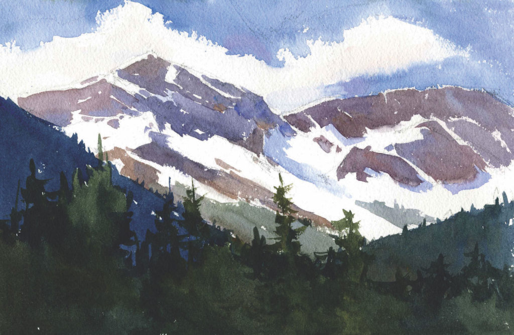 Mount Stanley, B.C. by Catherine Gill | Techniques for Painting Outdoors, How to Paint the Earth, Sky and Sea in Landscapes | Watercolor Artist, Artists Network