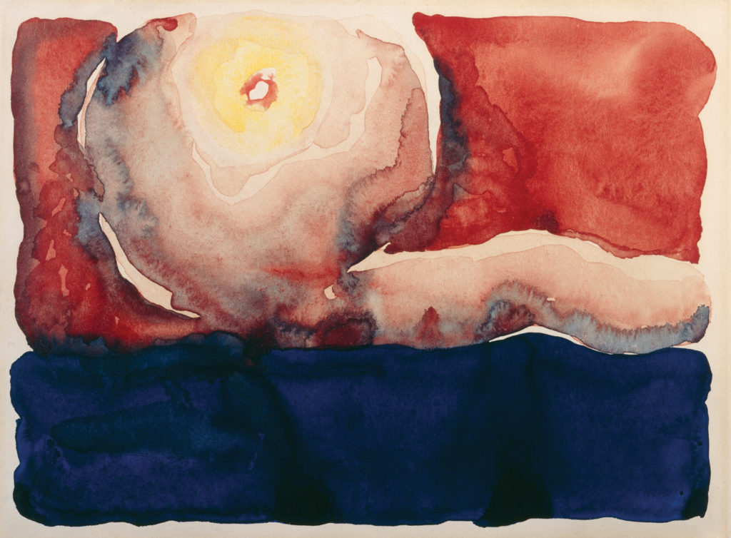 Evening Star No. VII by Georgia O'Keeffe (1917; watercolor on paper, 8⅞x11⅞) Selected by Carolyn Kastner, Ph.D., Curator, Georgia O'Keeffe Museum, Santa Fe, N.M.