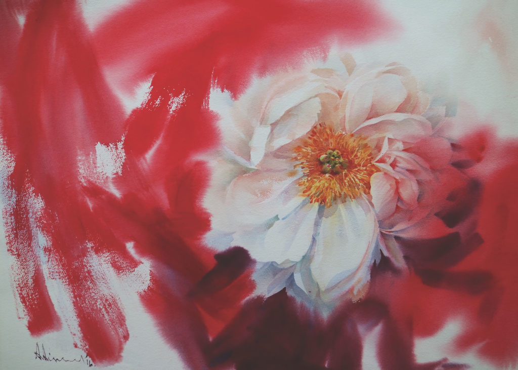 Watercolor flowers: Peony by Adisorn Pornsirikarn (watercolor on paper, 21½ x29½ )