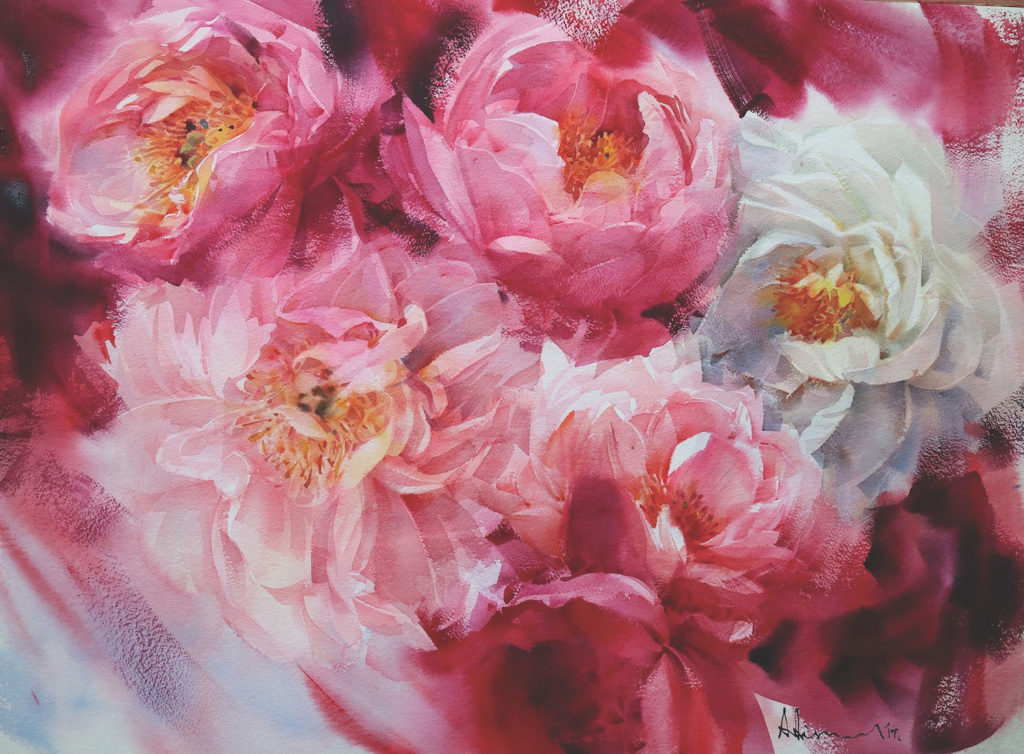 Watercolor flowers: Peony by Adisorn Pornsirikarn (watercolor on paper, 21½ x29½)
