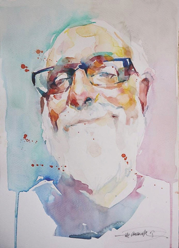 Study of David Lobenberg by Ibe Ananaba, watercolor on paper, 15x11