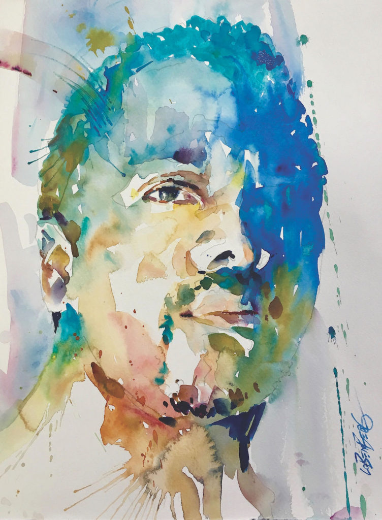 Study of Ibe Ananaba by David Lobenberg, watercolor on paper, 15x11