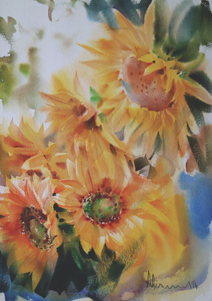 Watercolor flower: Sunflower by Adisorn Pornsirikarn (watercolor on paper, 20x14¼ )