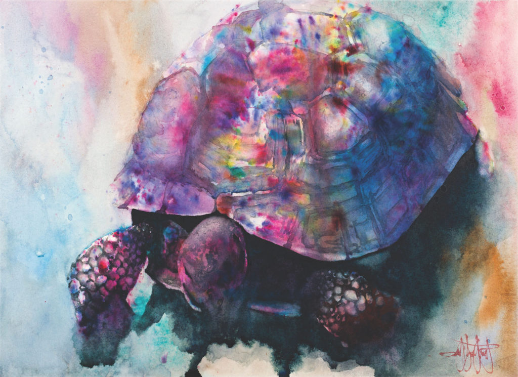 Sweet Turtle Medicine by Ward Jene Stroud, Brusho and watercolor on paper | Brusho Basics: How to Add Quick Pops of Color to Your Art
