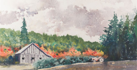 That Old Tractor by Ward Jene Stroud, Brusho and watercolor on paper | Brusho Basics: How to Add Quick Pops of Color to Your Art