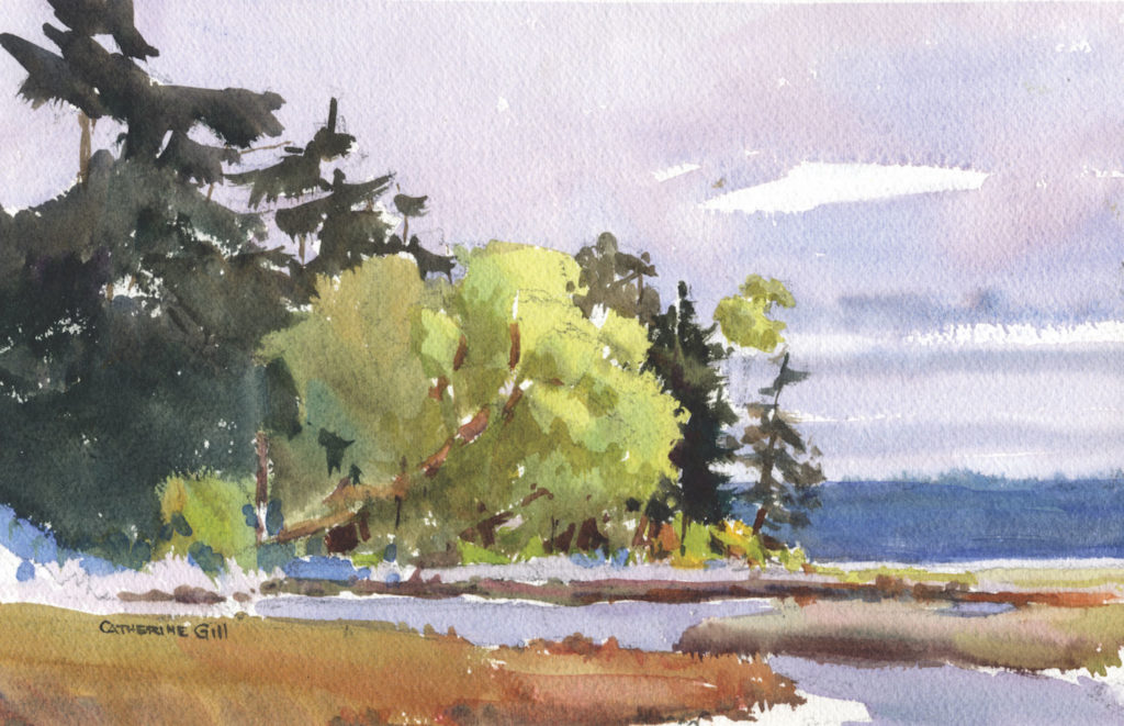 Vashon Sky by Catherine Gill | Techniques for Painting Outdoors, How to Paint the Earth, Sky and Sea in Landscapes | Watercolor Artist, Artists Network