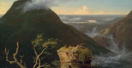 View of the Round-Top in the Catskill Mountains (Sunny Morning on the Hudson) by Thomas Cole, oil on panel, 1827