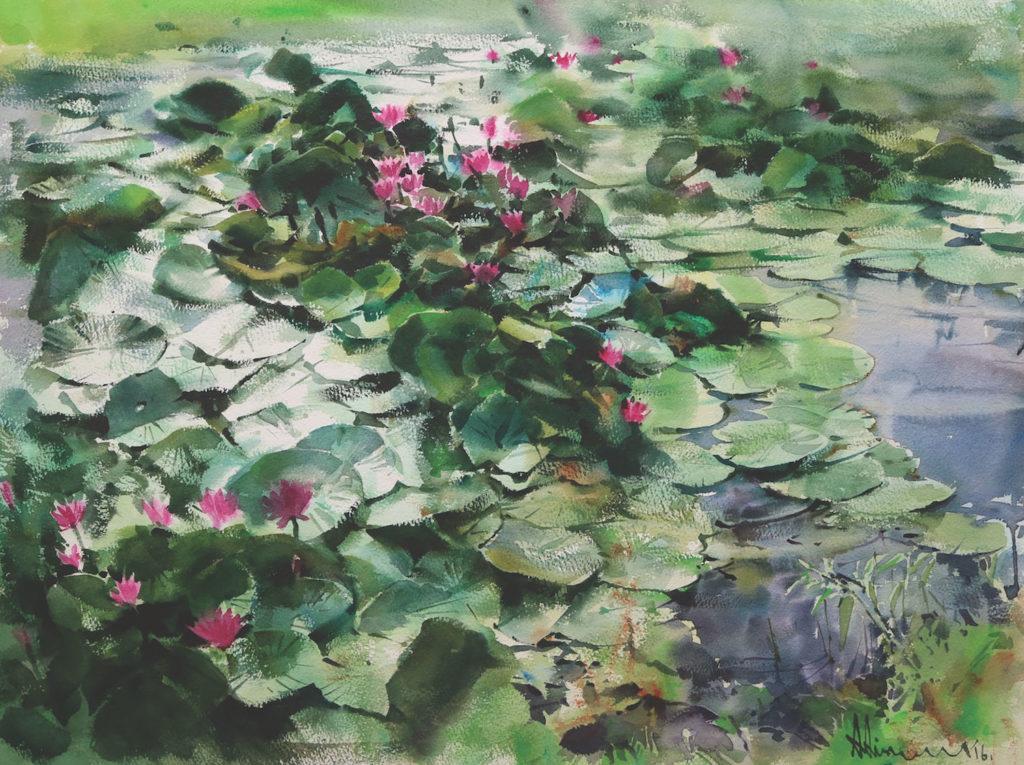 Watercolor flowers: Waterlily by Adisorn Pornsirikarn (watercolor on paper, 18x24)