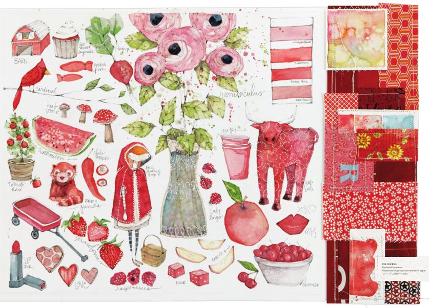 A red one-color wonder from Danielle Donaldson, featured in her book, The Art of Creative Watercolor.