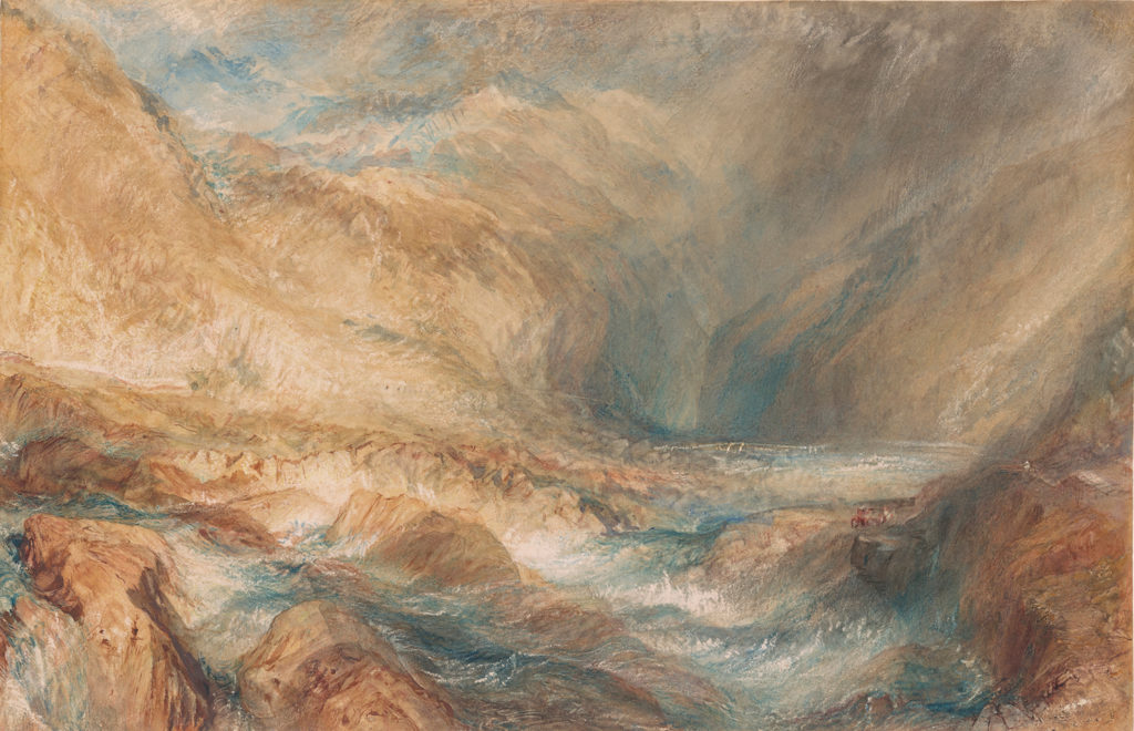 The Pass at St. Gotthard, Near Faido by J.M.W. Turner (1843; watercolor over graphite, 1115⁄16 x 18½) Selected by John Marciari, Charles W. Engelhard, Curator and Department Head, Drawings and Prints, The Morgan Library & Museum, New York.