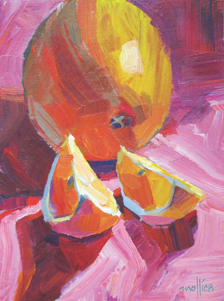 Pink on Orange by Patti Mollica | Painting Composition Tips for Beginners | Artists Network