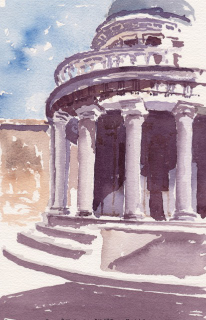 Tempietto di San Pietro in Montorio graphite and watercolor on paper by Angelo Hornak, Getty Images