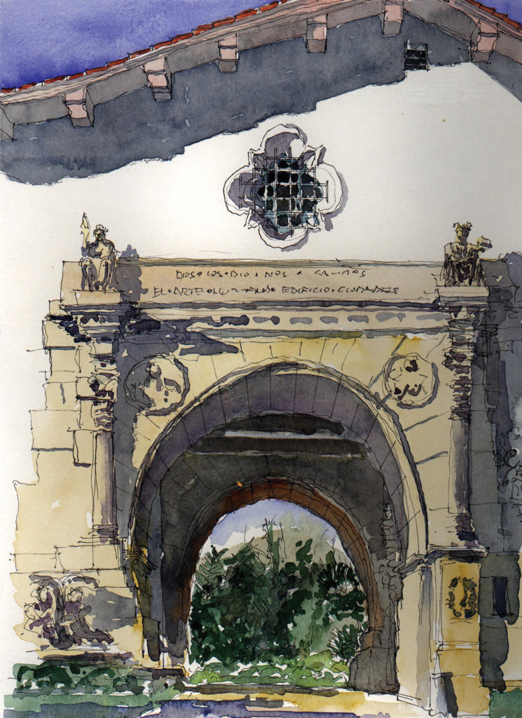 Santa Barbara Courthouse Portal by Stephen Harby, graphite and monochrome wash on paper, 15x12