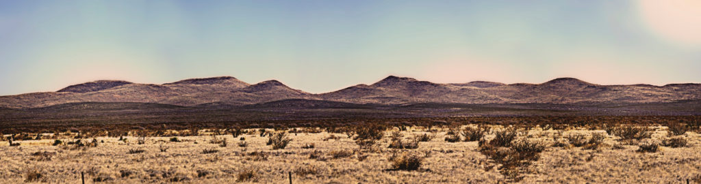 A panorama of the desert in Marfa, Texas, with the Davis Mountains in the background. GETTY IMAGES