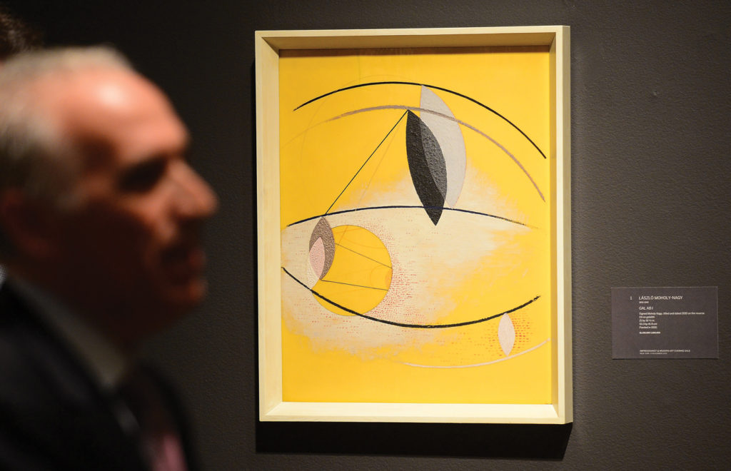GAL AB I by Laszlo Moholy-Nagy (oil on galalith, 21x16½) on display at Sotheby's, New York, 2013. Emmanuel Dunand/AFP/Getty Images