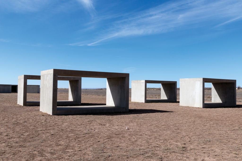 Untitled by Donald Judd on the grounds of the Chinati Foundation; concrete, 98½ x98½ x194 (each cube) PHOTO: CAROL M. HIGHSMITH/BUYENLARGE/GETTY IMAGES; ARCHIVE PHOTOS