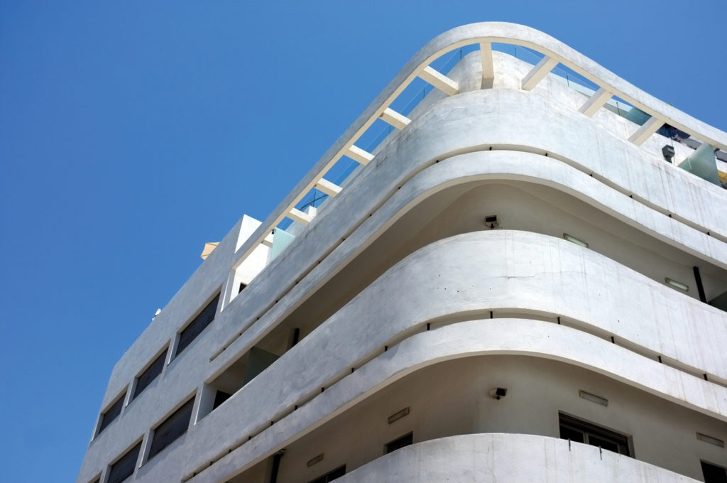 A Bauhaus-style building in the White City area of Tel Aviv. IAISI/Getty Images