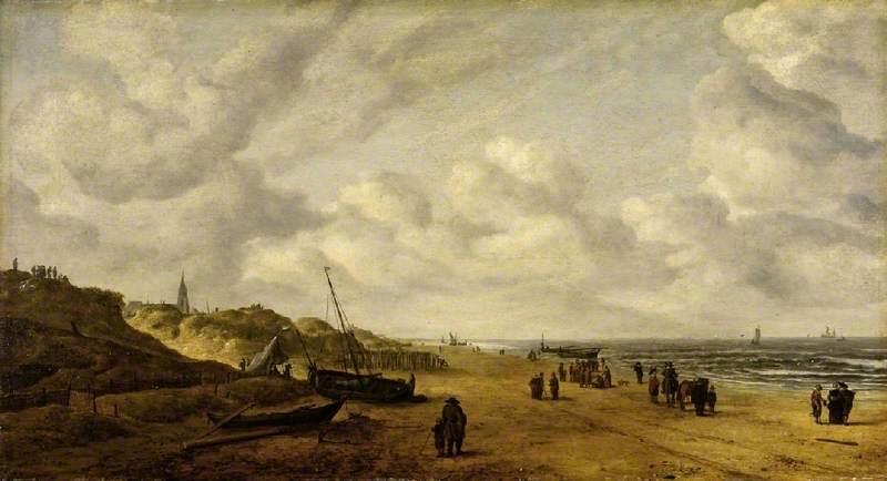 View of Scheveningen Sands by Hendrick van Anthonissen, before restoration | Learn All About Pentimento -- Repainting Your Art | Artists Network