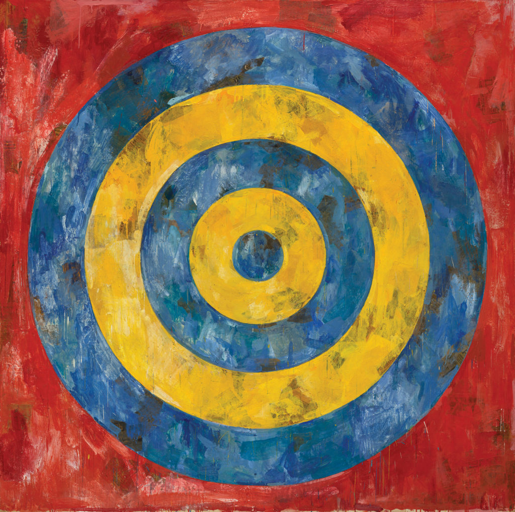 Target 1961; encaustic and collage on canvas, 66x66. THE ART INSTITUTE OF CHICAGO/ART RESOURCE, NY/SCALA, FLORENCE. ART ©JASPER JOHNS/LICENSED BY VAGA, NEW YORK, NY