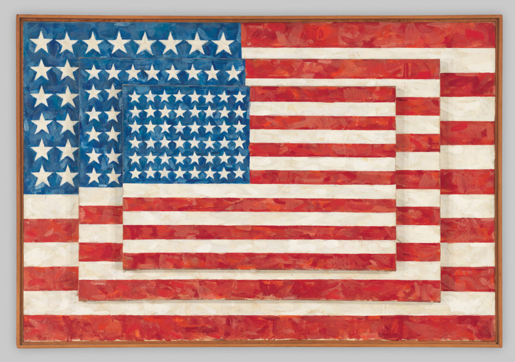 Three Flags 1958; encaustic on canvas, 30⅝ x45½x4⅝ WHITNEY MUSEUM OF AMERICAN ART, NEW YORK. ART ©JASPER JOHNS/LICENSED BY VAGA, NEW YORK, NY