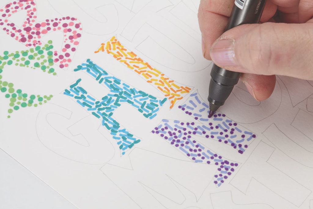 Seurat Dots, Step 4 | 10 Hand Lettering Techniques with an Artful Spin by Joanne Sharpe | Artists Network