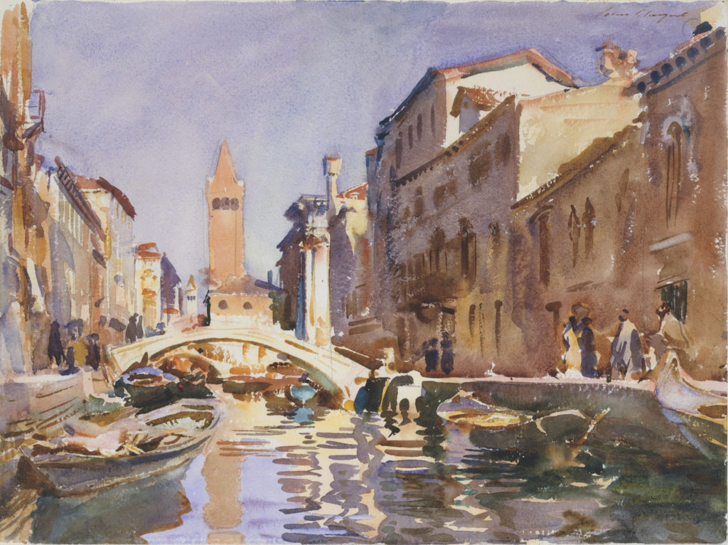 Venetian Canal by John Singer Sargent (1913; watercolor and graphite on paper, 15¾x21)