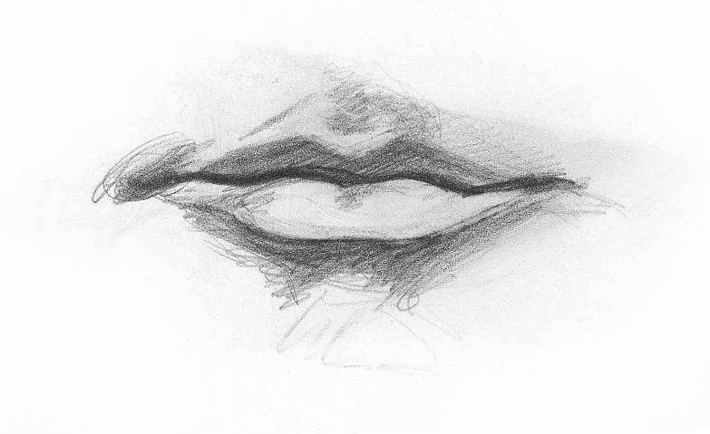 Drawing Lips, Male, Demo, Step 2 | Lee Hammond | How to Draw Facial Features for Beginners | Artists Network