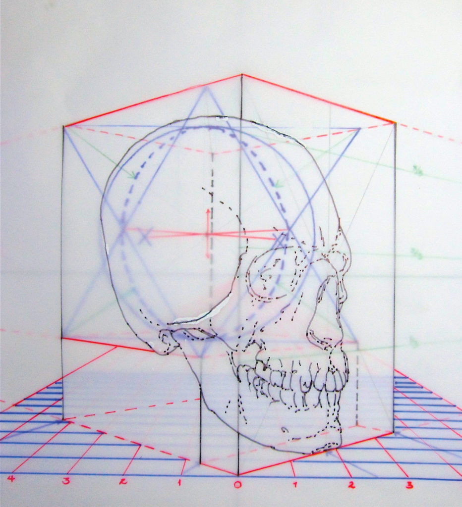 Figure 3A | Skull in Two-Point Perspective | Learning Linear Perspective with Patrick Connors | Artists Network