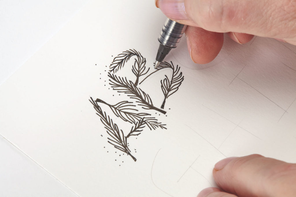 Floating Feathers, Step 1 |10 Hand Lettering Techniques with an Artful Spin by Joanne Sharpe | Artists Network