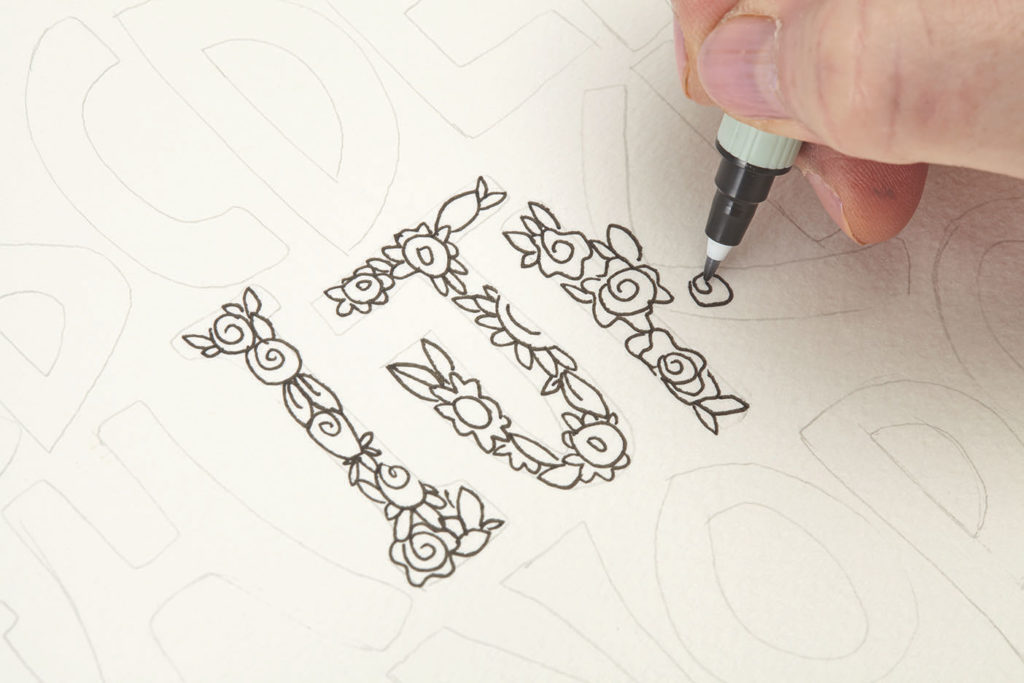 Font in Floral, Step 1 |10 Hand Lettering Techniques with an Artful Spin by Joanne Sharpe | Artists Network