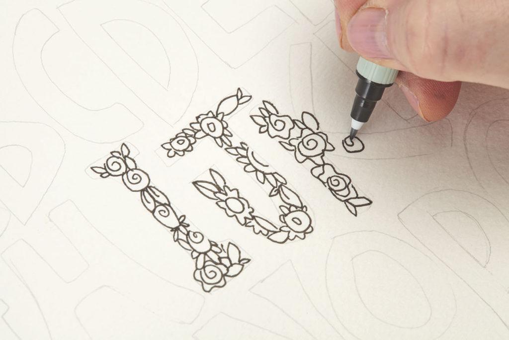 Font In Floral Step 1