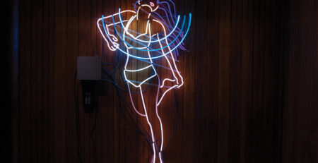 Siren by Kate Hush animated; 8mm neon glass filled with argon and 120-volt power supplies, 60x22x4½