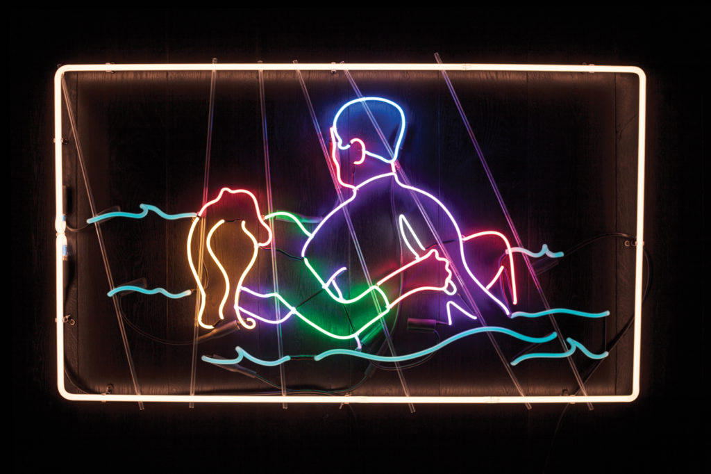 You Can Relax Around Me by Kate Hush 6 mm and 12 mm neon glass filled with argon, 120-volt power supplies; 26½ x 45 x 2