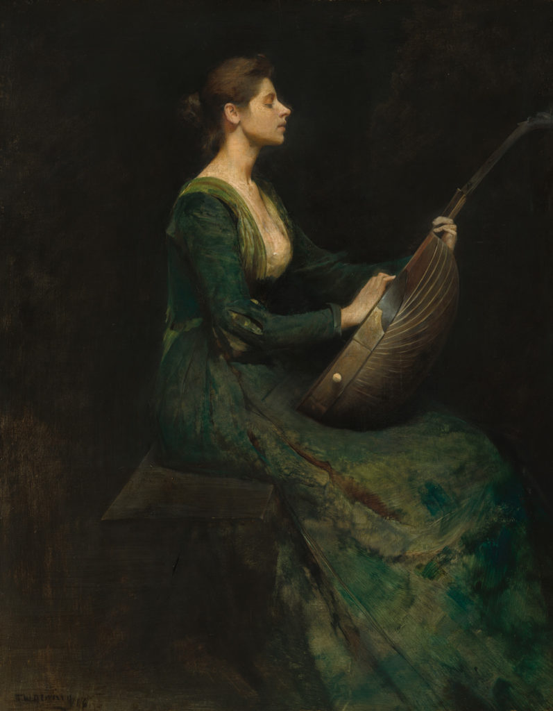Lady with a Lute by Thomas Wilmer Dewing, 1886, oil on wood