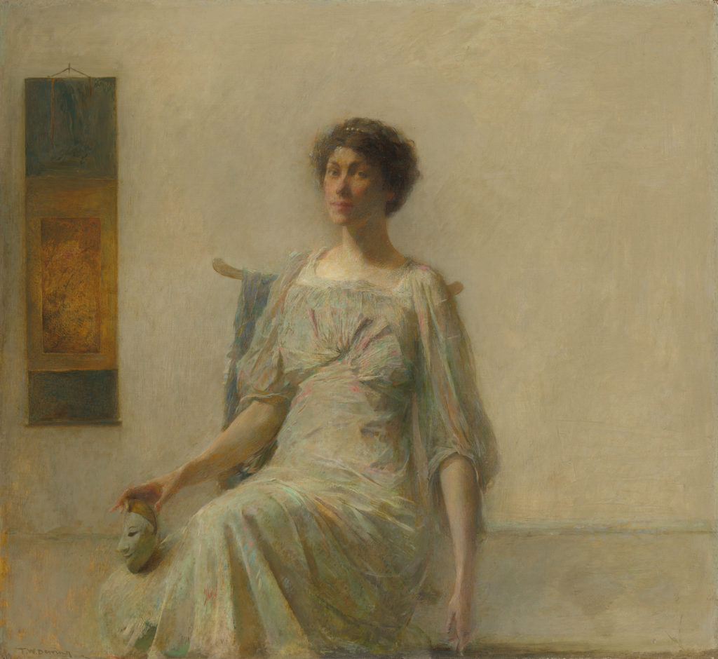 Lady with a Mask by Thomas Wilmer Dewing, oil on canvas, 1911